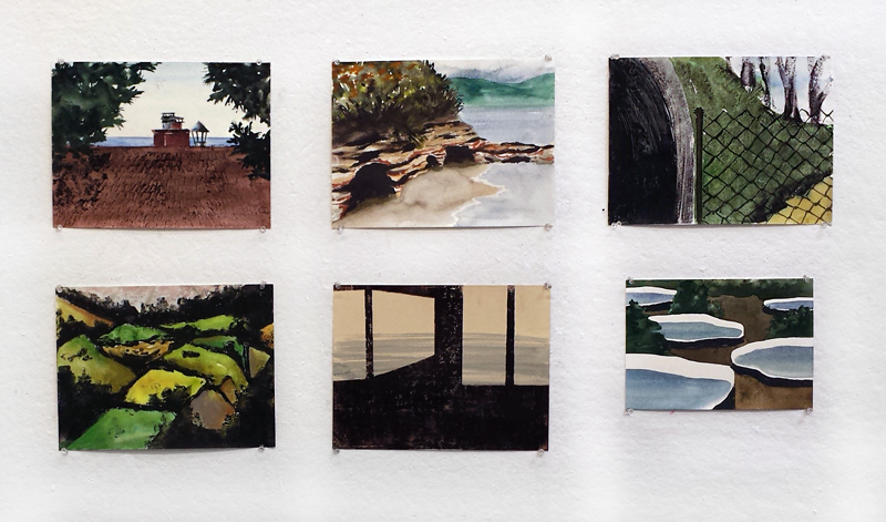 Six of the first mixed-media monotypes I made incorporating watercolor, gouache, ink, and pastel. 2015.