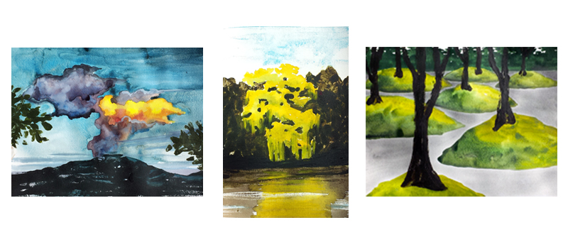 Three of the most recent mixed-media monotypes I made incorporating watercolor,graphite, and water-based oil paint as ink. 2016.