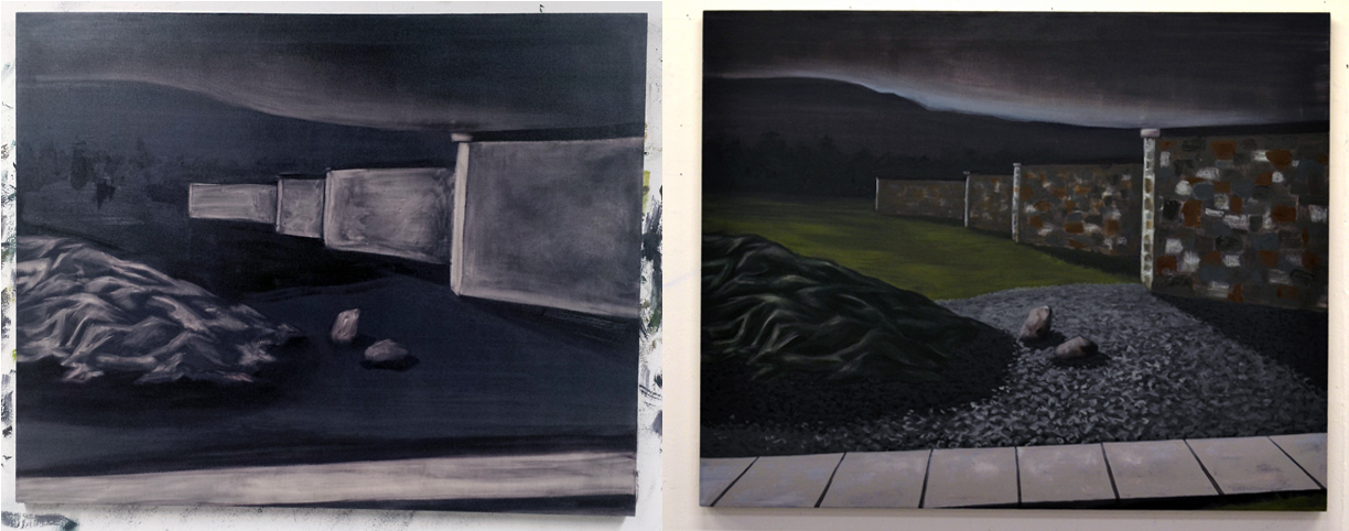 """Before and after images of (left) the preliminary, subtractive """"underpainting, and (right) the finished piece.   Blackhead (Shorelines)  Oil on Linen   2015"""