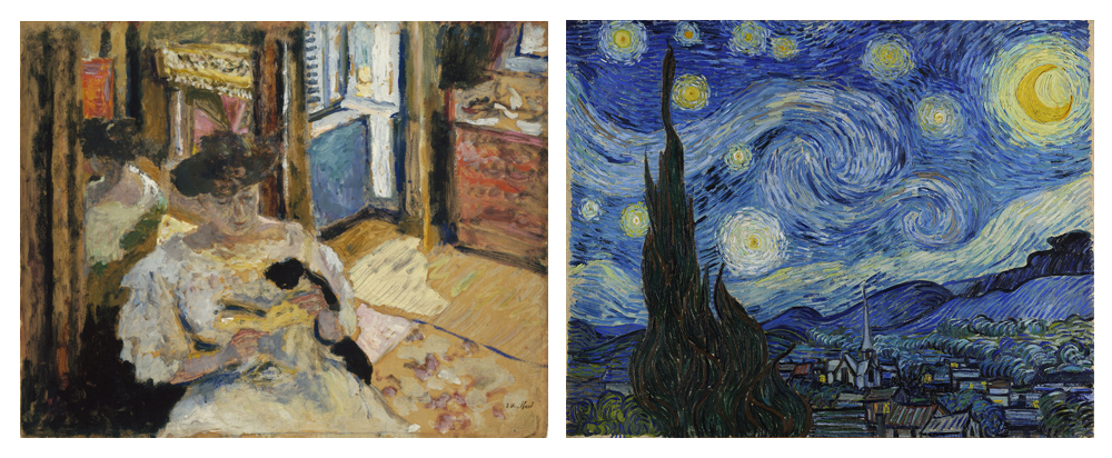 Left: The Dressing-Room, Madame Hessel Reading at Amfréville |  Edouard Vuillard | Oil and Tempera on Cardboard |   1906    Right:  The Starry Night  | Vincent van Gogh | Oil on Canvas | 1889