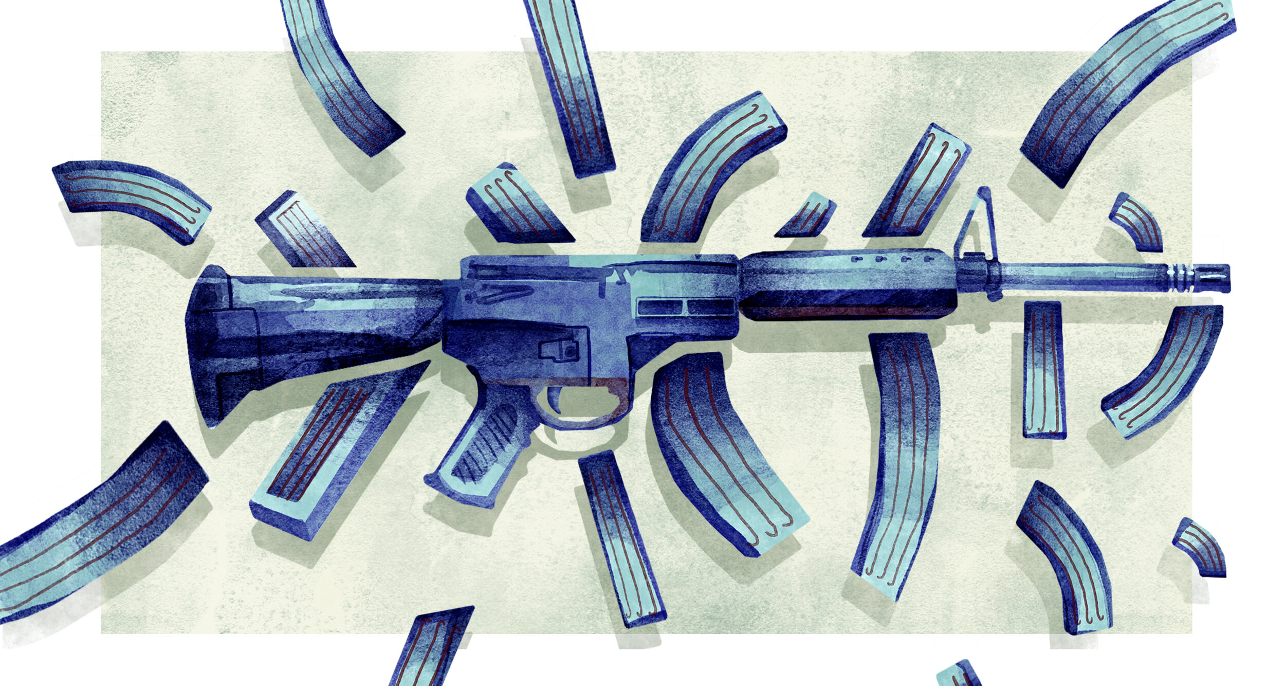 Editorial Illustration concerning the current epidemic of gun violence, and the debate surrounding gun control laws.