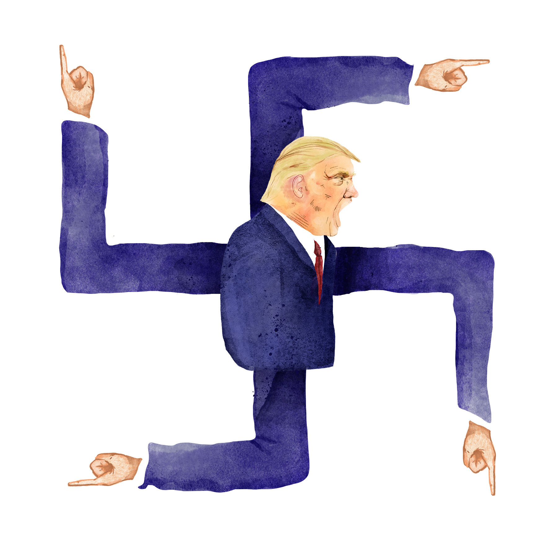 Editorial Illustration about Donald Trump and his almost neutral language towards the far-right participants after the Unite the Right protests in Charlottesville.