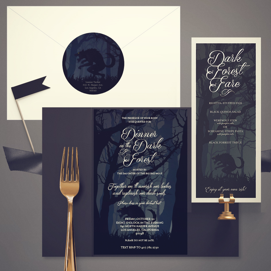 Halloween Dinner Party Invite and Menu
