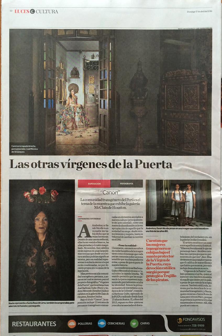 El Comercio, Peru, Sunday, April 17, 2016