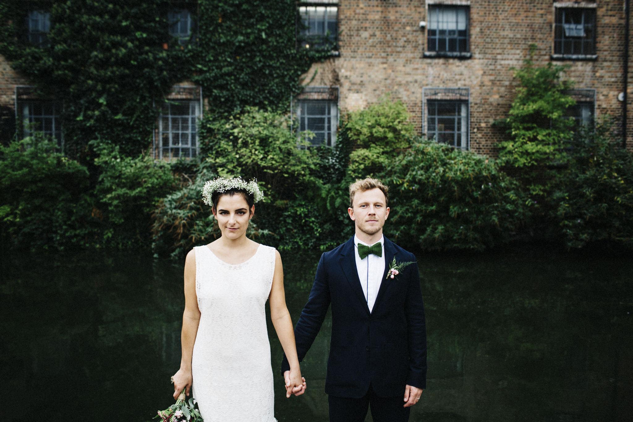 wedding groom with Harris tweed bow tie