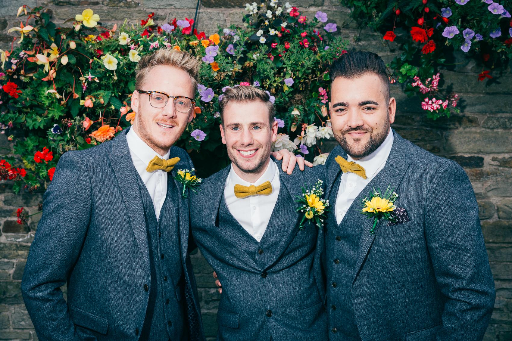 Spring wedding florals mustard bow tie