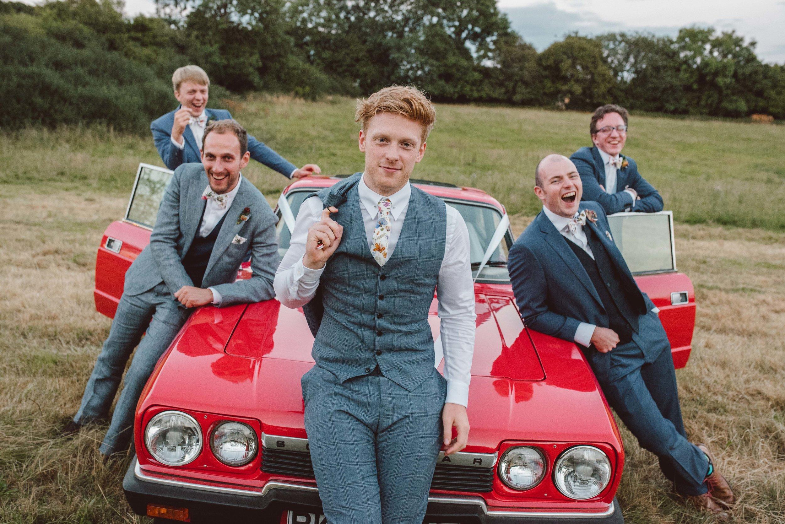 Classic car wedding summer field