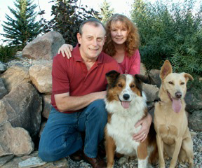 owners Nancy and Malcolm with dogs Maggie and Jenny.