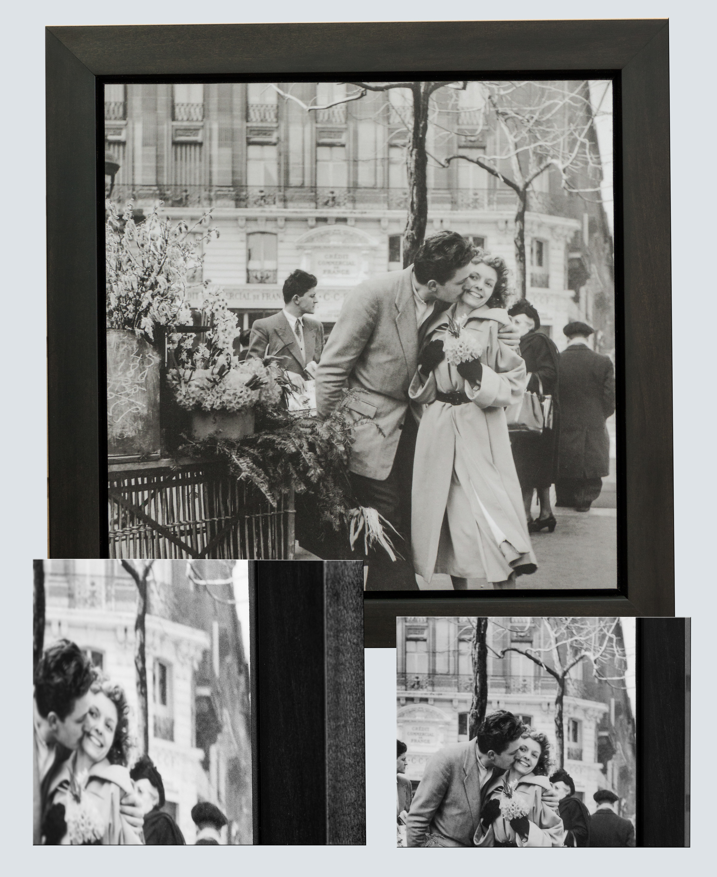 Frame mount style of plaque mounting-1940's New York street scene.