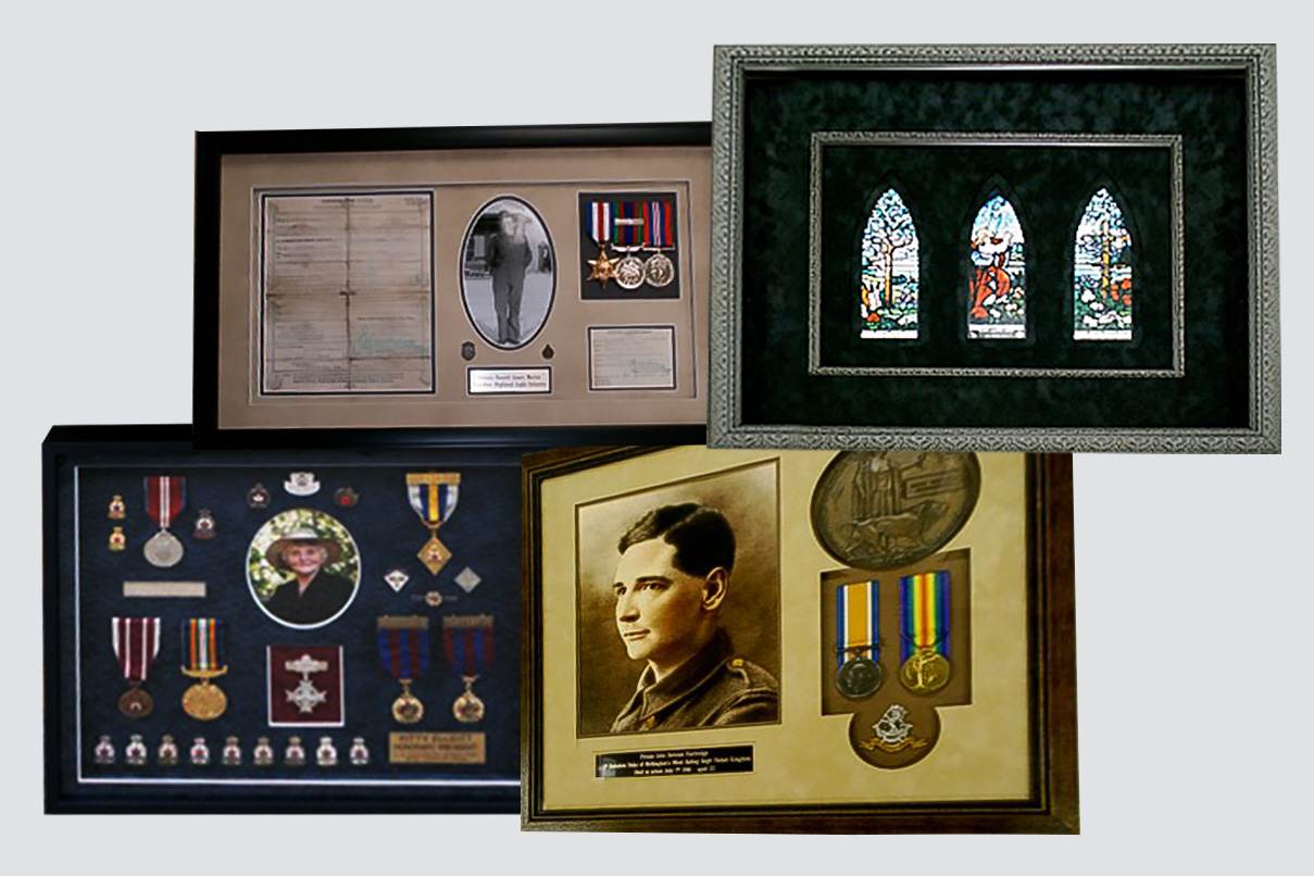 collage of four frames containing military medals -one with stained glass