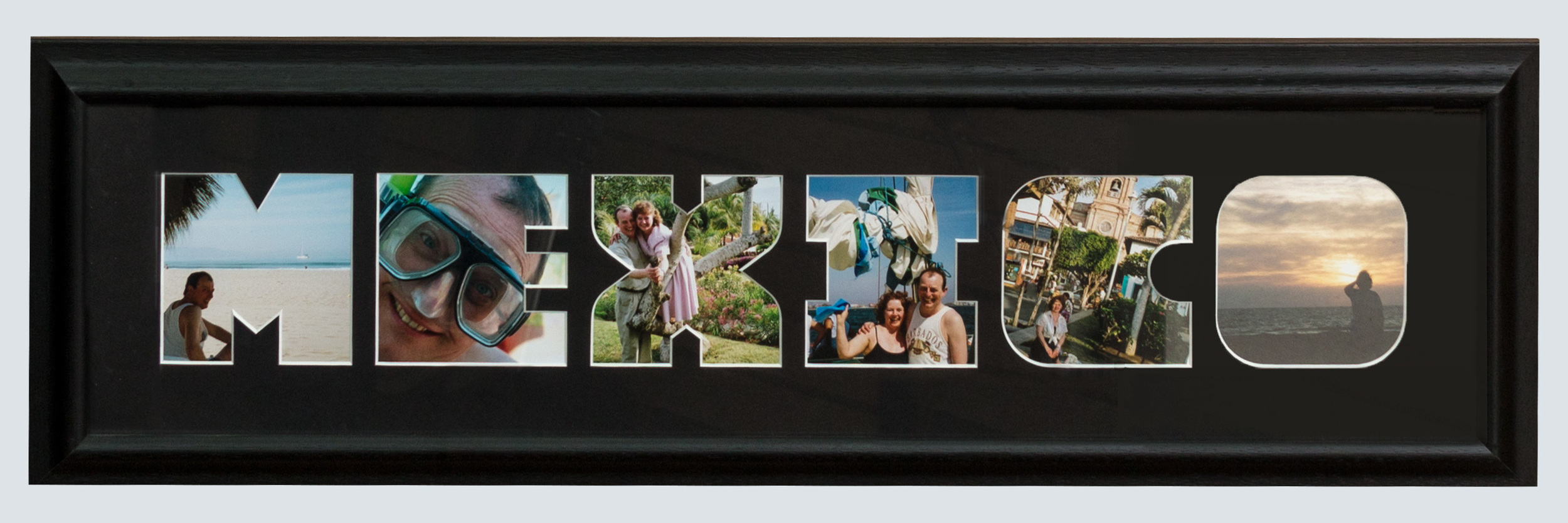 mat with mexico cut out-vacation photo in each letter