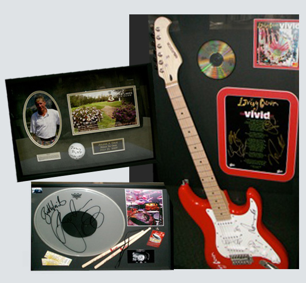 Custom Framed musical instruments and golfballs