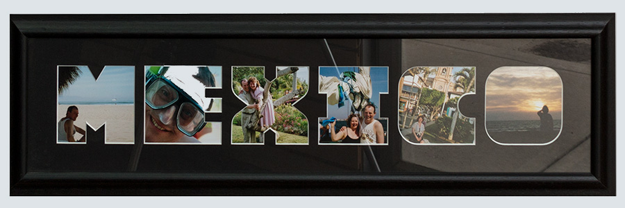 Framed photo mat showing contrast in glass reflection.