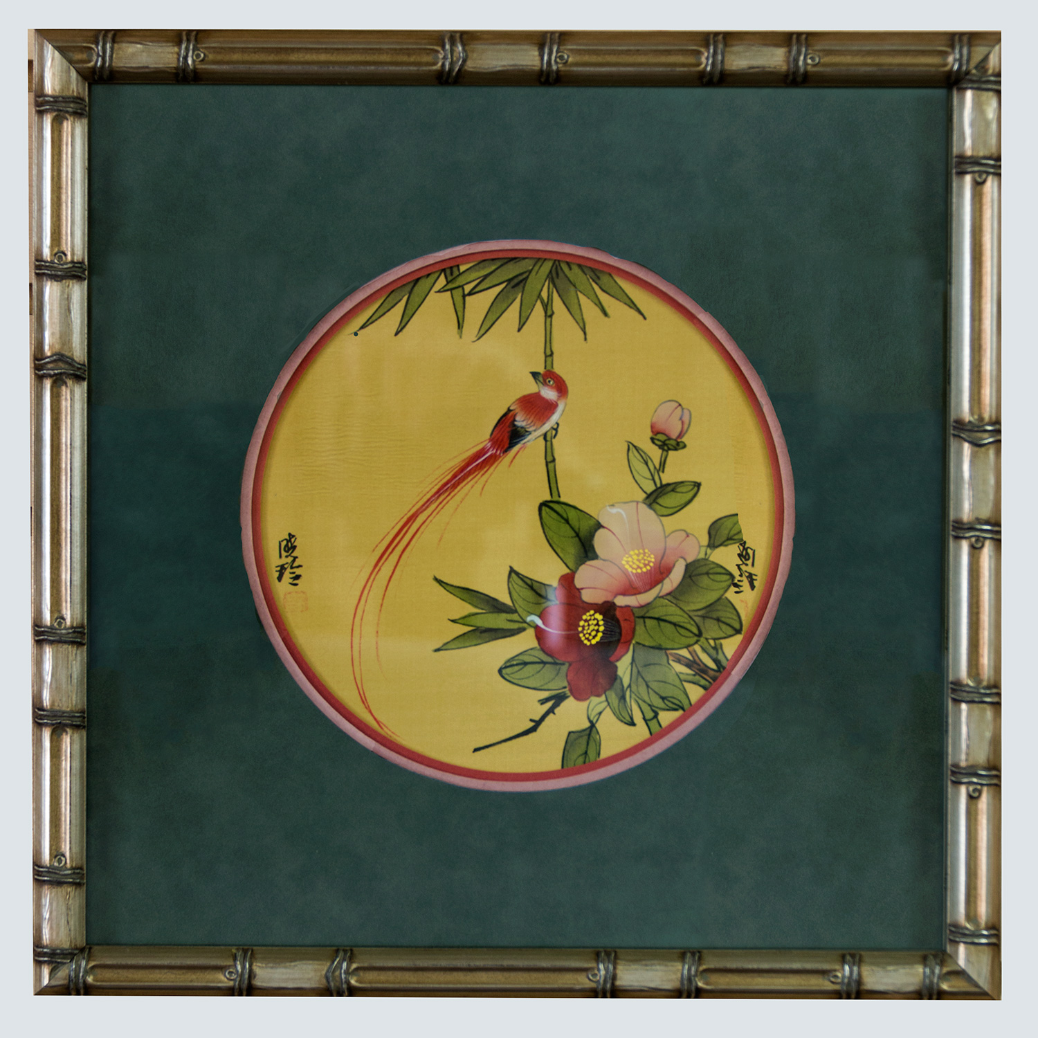 oriental art from vacation framed in bamboo style frame