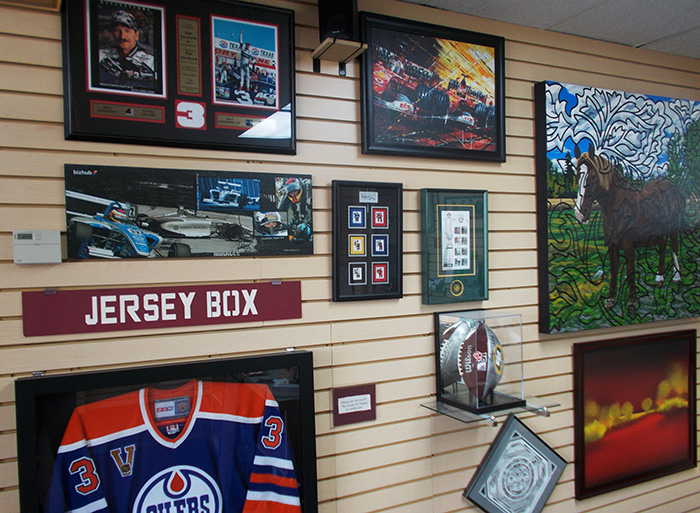 Interoir display wall showing jersey boxes
