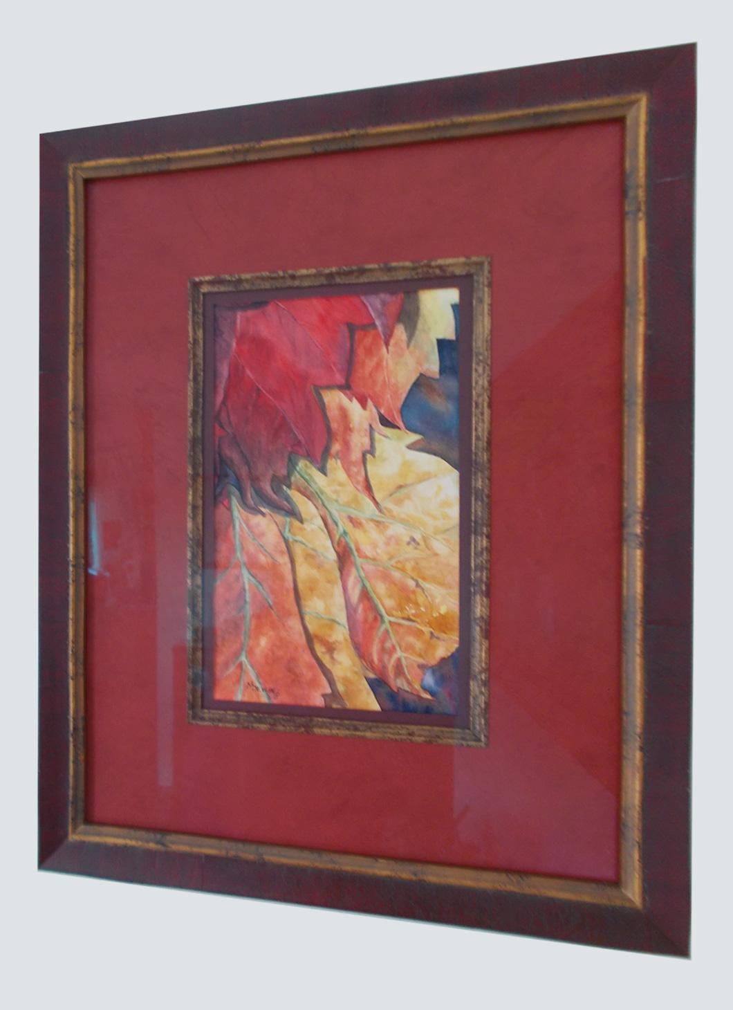 framed watercolor of leaves