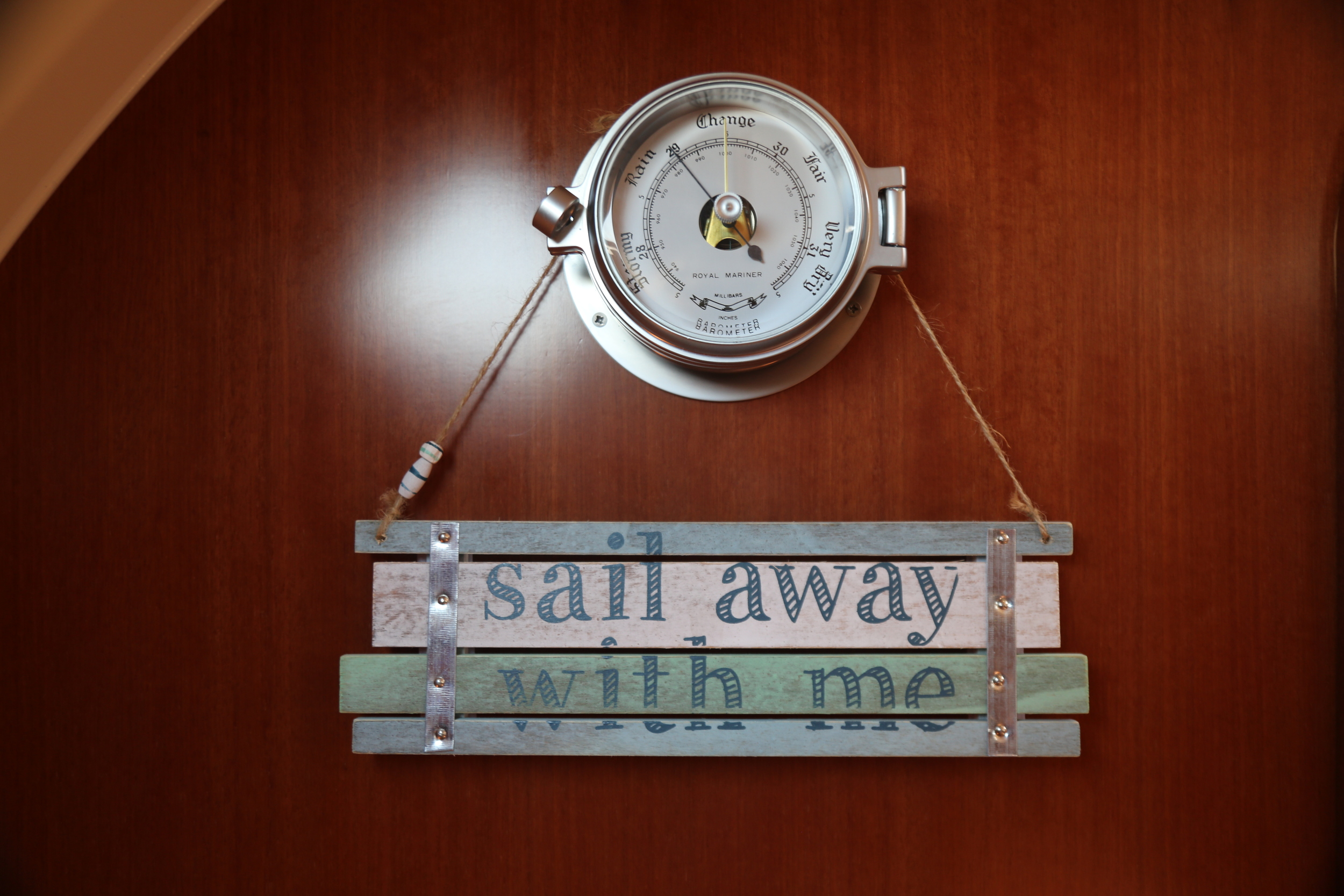 Both the Barometer and 'Sail away with me' sign were gifts
