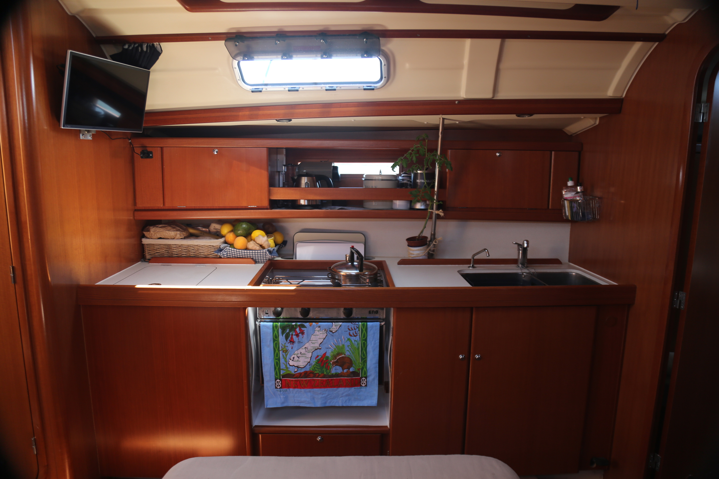 Galley; Kitchen. The gas cooker swings on a gimble so you don't spill when you sway.