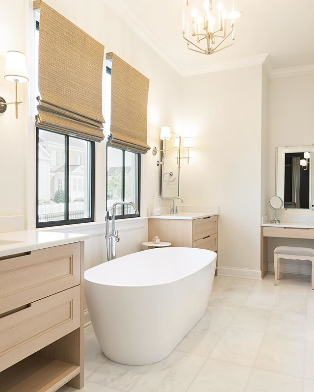 Serene master suite bath.  Built by @ramagecompany  Interiors by @lcinteriors