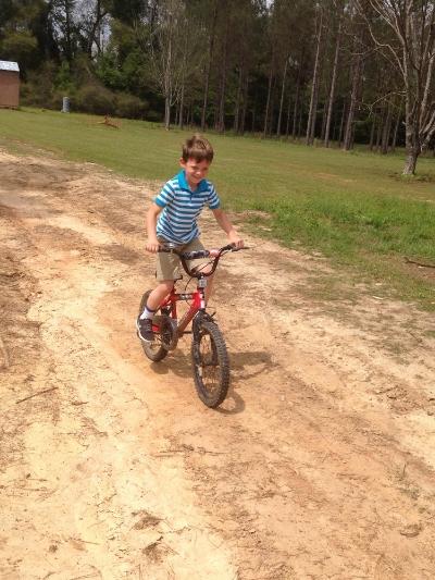 We enjoyed the sun shine! Ben rode his bike (which he is a bit of a dare-devil on) and I got in a extra jog:)