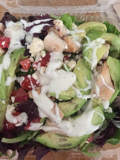 This is a Atlanta Bread company house salad, no croutons, add grilled chicken, add avocado, ranch dressing instead of the lemon basil that typically comes with it.... YUM! YUM! You must give it a try!!!