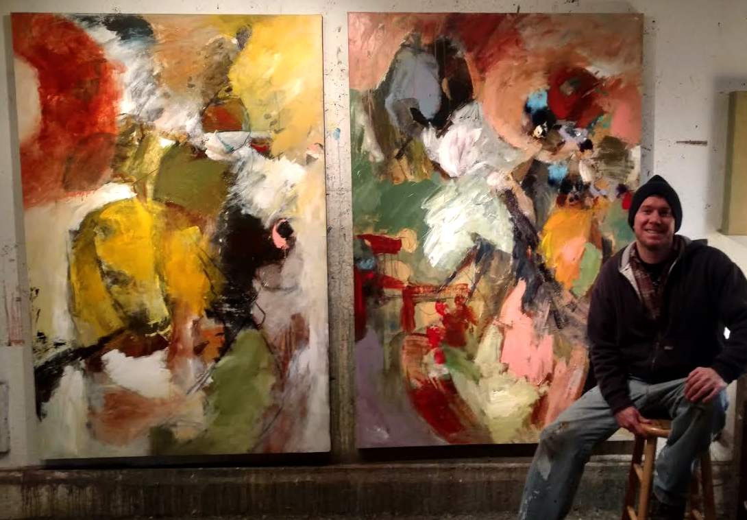 Mathie with new large scale abstracts in his studio, January, 2016.