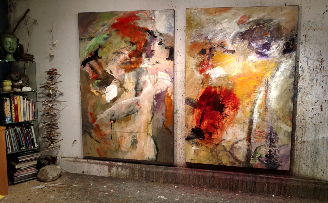 Two brand new large scale Mathie abstracts in the studio before going to art galleries.