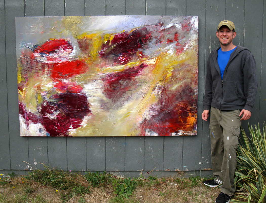 "Mathie with ""Dahlia Garden,"" 48 x 72 inches, before it went to gallery."
