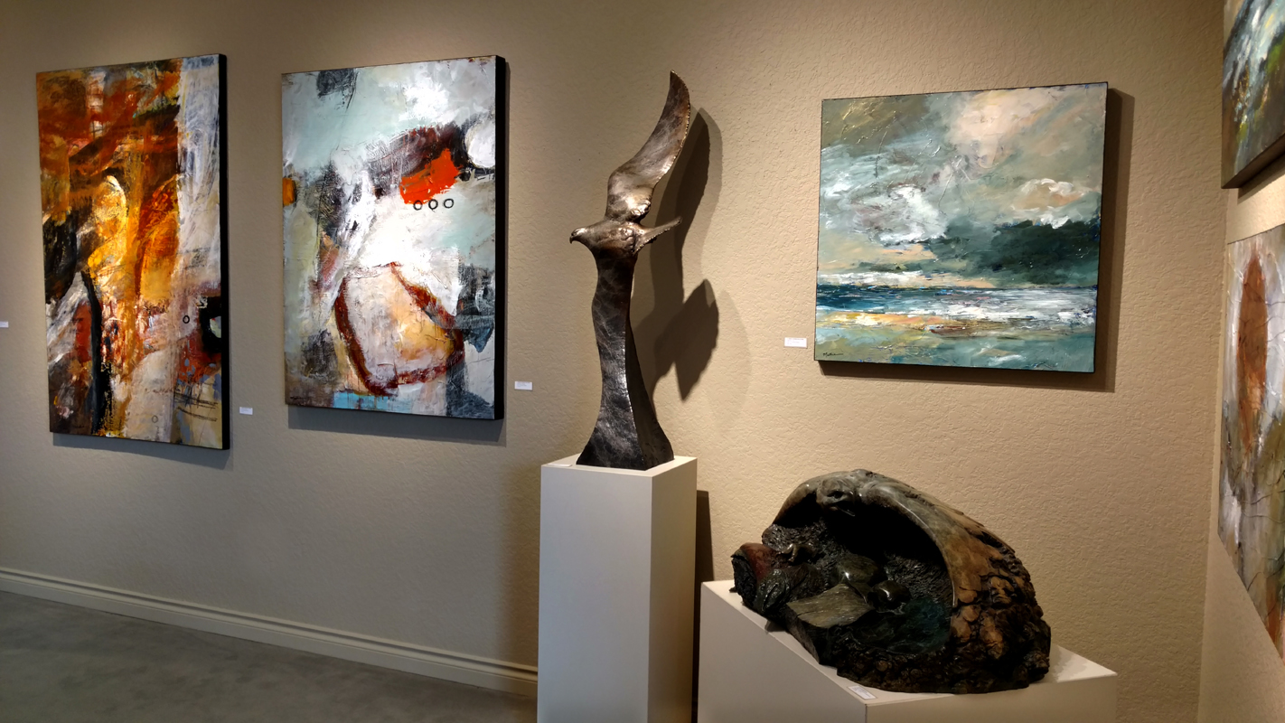 "Recent installation at Howard/Mandville Gallery in Kirkland, WA, USA.  Paintings by Christopher Mathie Sculptures by Leo E. Osborne ""Contemporary Showcase,"" 5 painters, 2 sculptors, Runs thru April 2, 2017"