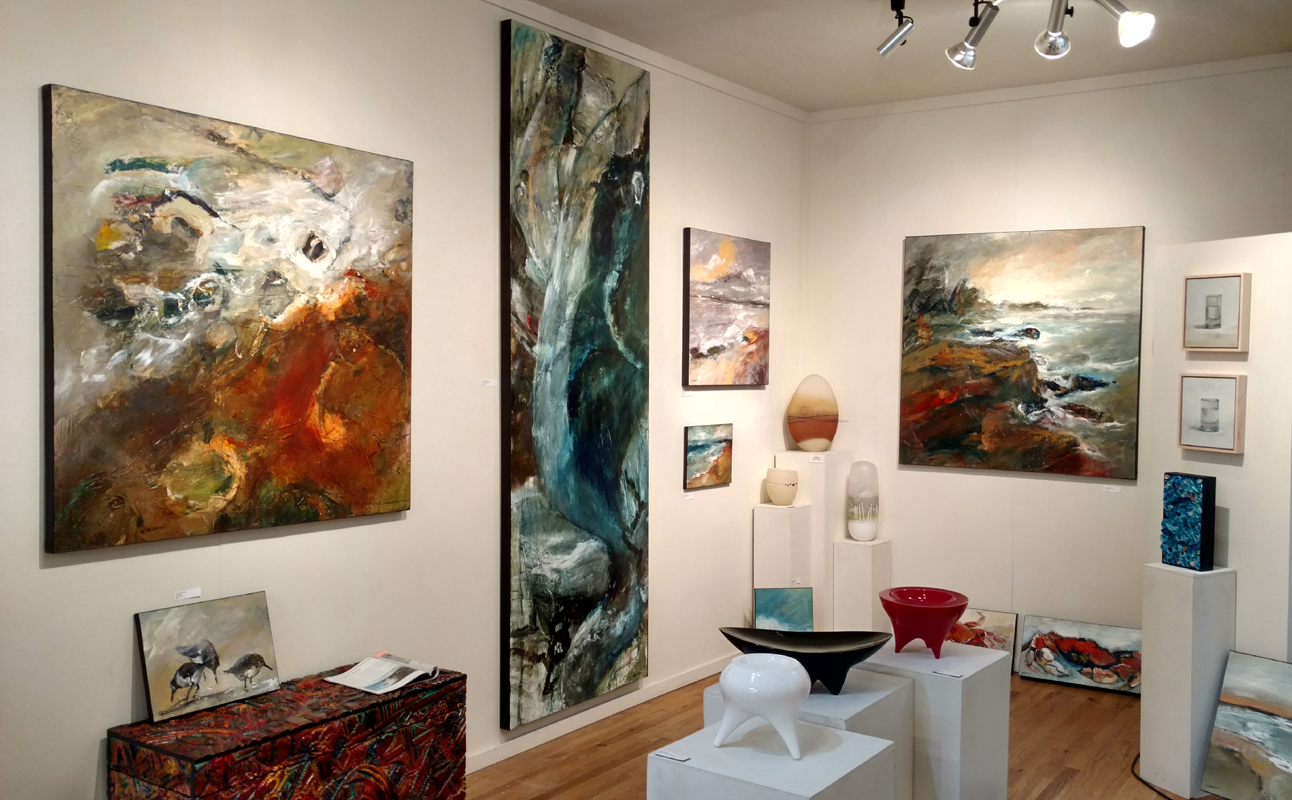 Some of the 43 Mathie paintings currently available at White Bird Gallery in Cannon Beach, OR.
