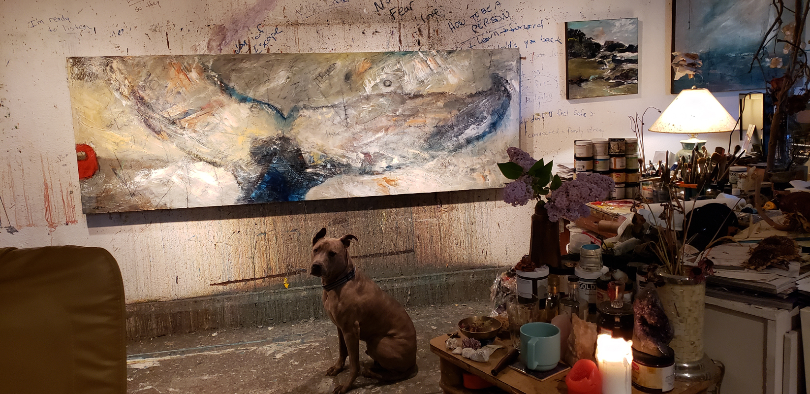 New large scale painting, 36 x 108 inches, in process now, 05-2019.