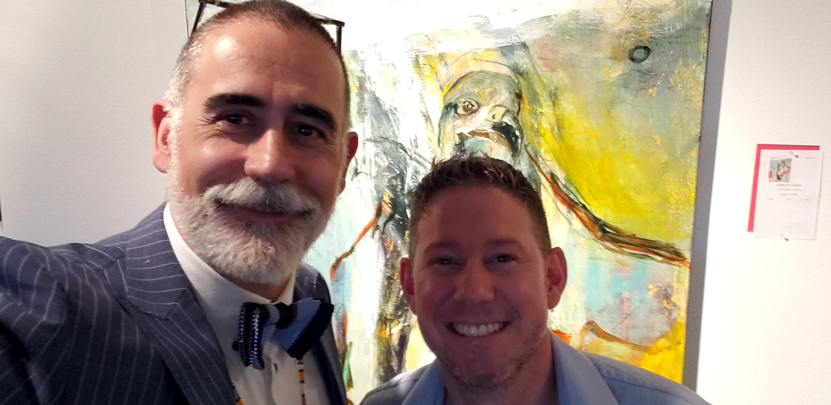 "Museum of Northwest Art, 06-08-2019 - Standing in front of my painting, ""Guides & Teachers."" Christopher Mathie with Stefano Catalani, Executive Director at Gage Academy of Art. He was this year's juror for the museum auction. Thanks for including my piece!"