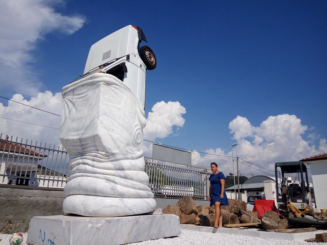 Midtown Alliance: New Sculpture at Bustling Midtown Intersection Devours Automobile