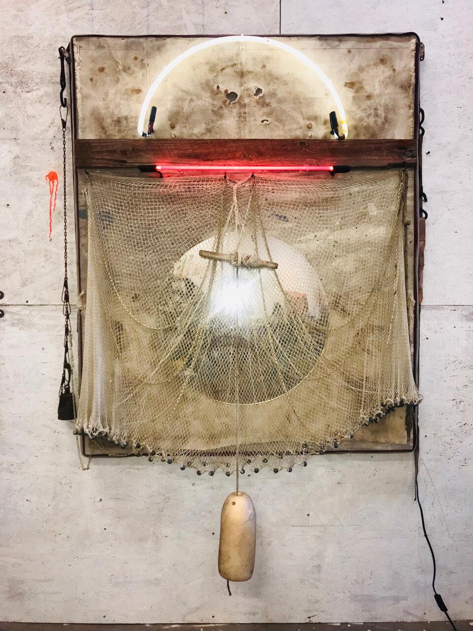 Dreams River_2019_WEB_76x53x7_morror fabric neon metal rope twin lead wood foam on panel.jpeg
