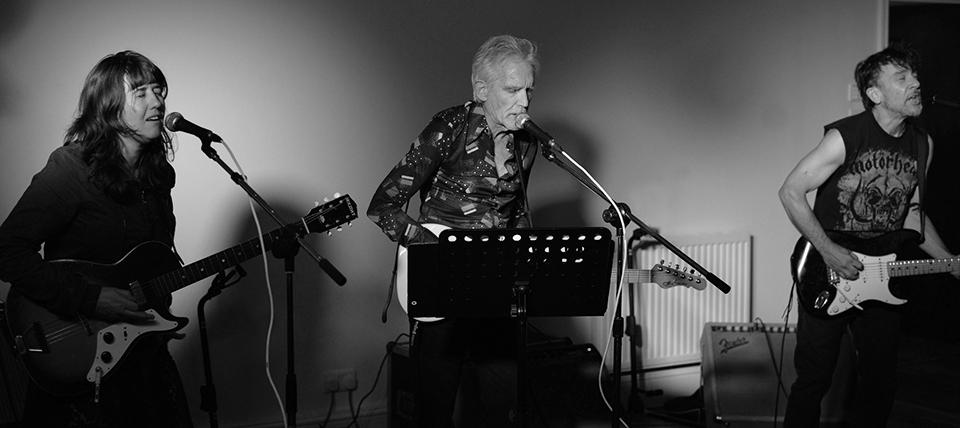 Anna Coogan, Johnny Dowd, and Mike Edmondson performing at The Edgemoor Hotel in Bovey Tracey, UK, on October 21. Photo by Jon Arnold Photography.