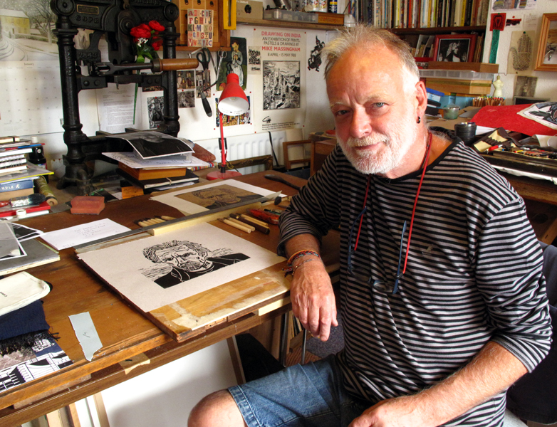 Artist Mike Massingham who created the woodcut for the cover of Johnny's upcoming album,  Family Picnic .