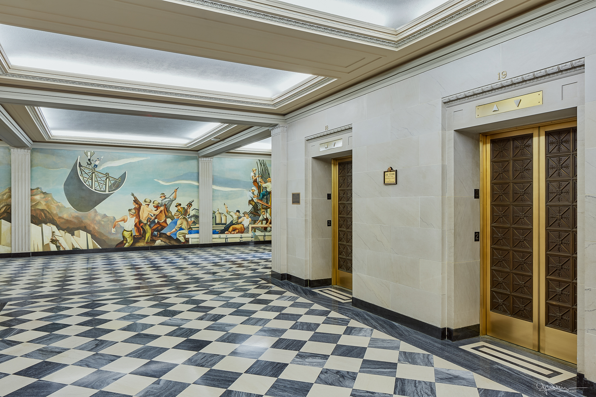 Historical mural and elevator lobby