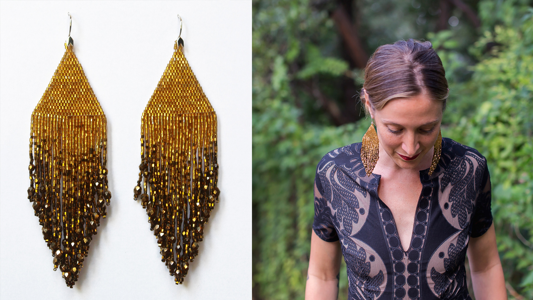 ombre fiero gold and bronze huichol earrings