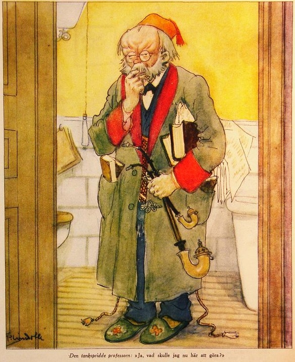 The absent minded professor -By Per Lindroth (1878-1933) (http://runeberg.org/kasperme/1929/0015.html) [Public domain], via Wikimedia Commons