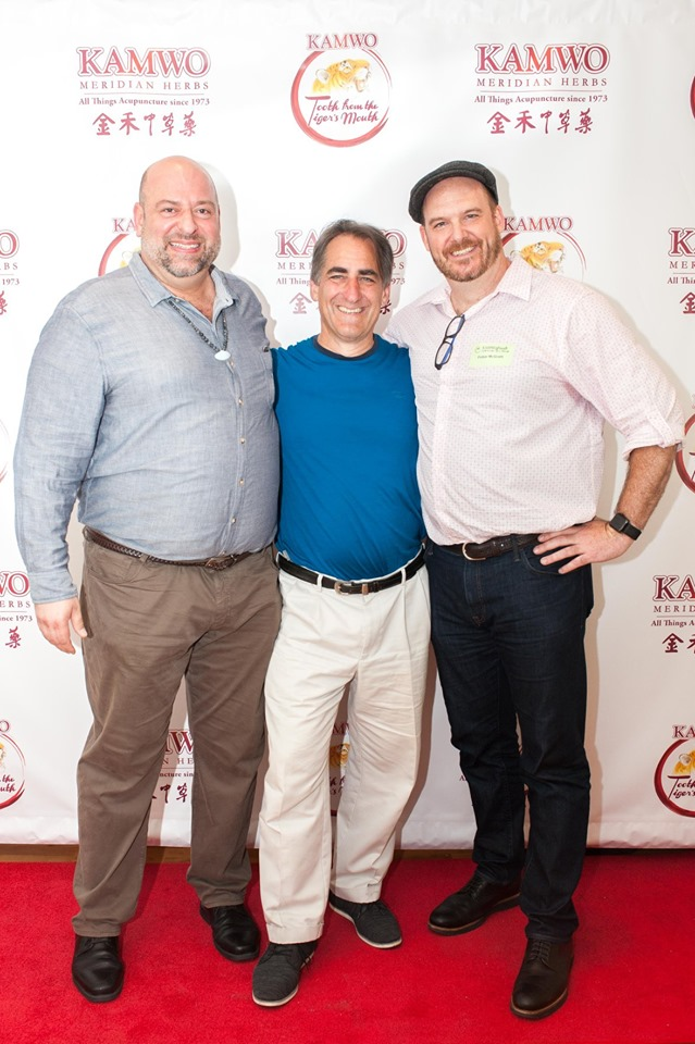 Left to Right: Renowned practitioner or Acupuncture and Herbal Medicine Jeremy Pulsifer, Tom Bisio and Finbar McGrath supporting the release of TTM at Kamwo