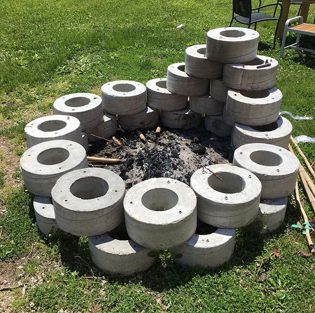 Longtime friend, artist, and current landlord @seantmullaney recycled our concrete donuts into a donut-shaped fire pit.  Check out @campsitesculpturepark account for cool happenings and perchance a fire in the pit.