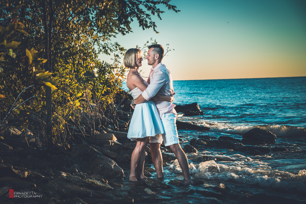 Chicago sunrise engagement photography at the beach
