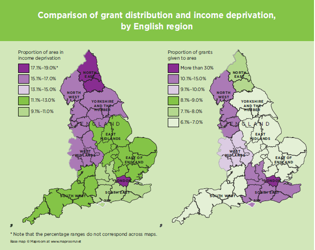 Trust funding versus level of need demonstrated by income deprivation (Sector Insight: UK grant-making trusts and foundations, 2015)