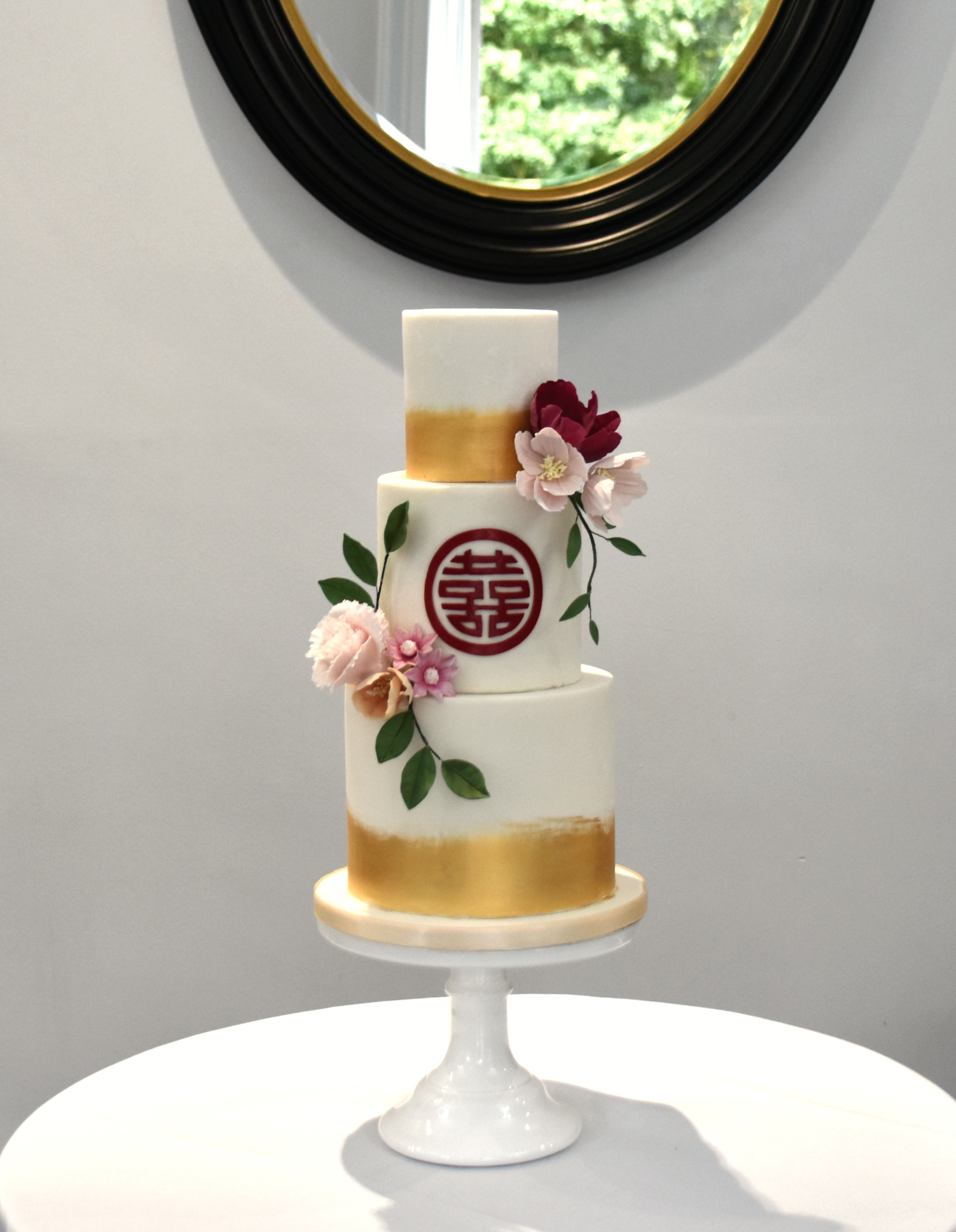 A detailed custom message was hand-cut out of sugar for a beautiful wedding in Cambridge.