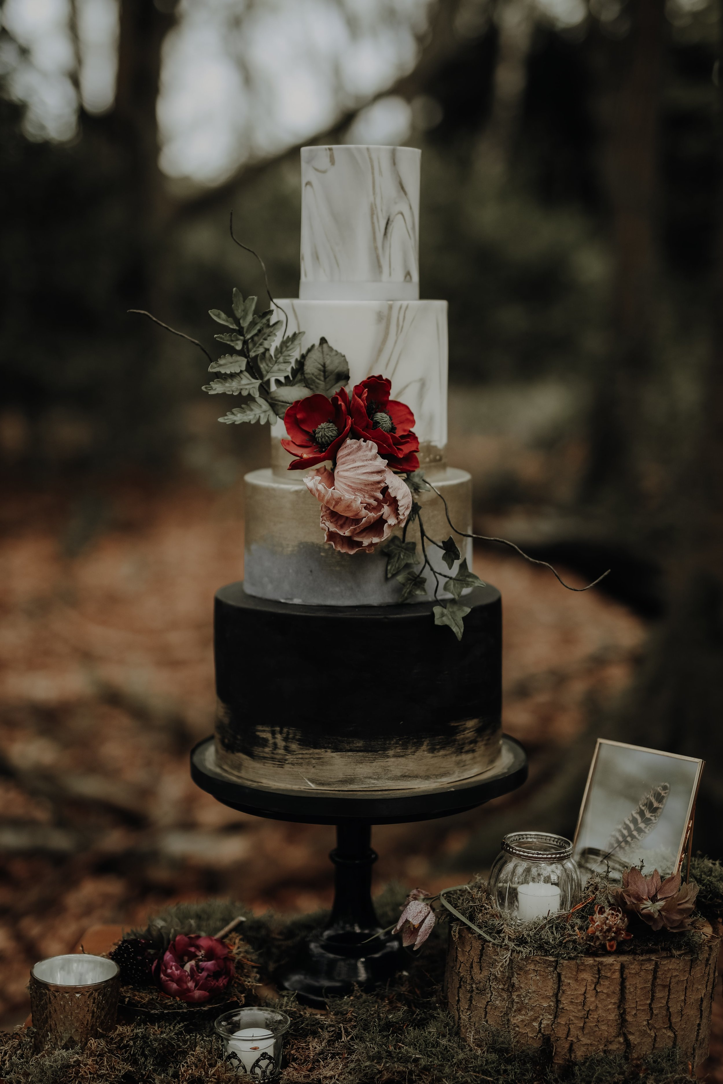Bold wedding cake, marble, black, gold, concrete and burgundy sugar flowers. Cake by Meadowsweet Cakes photography by Ayelle Photo and Video