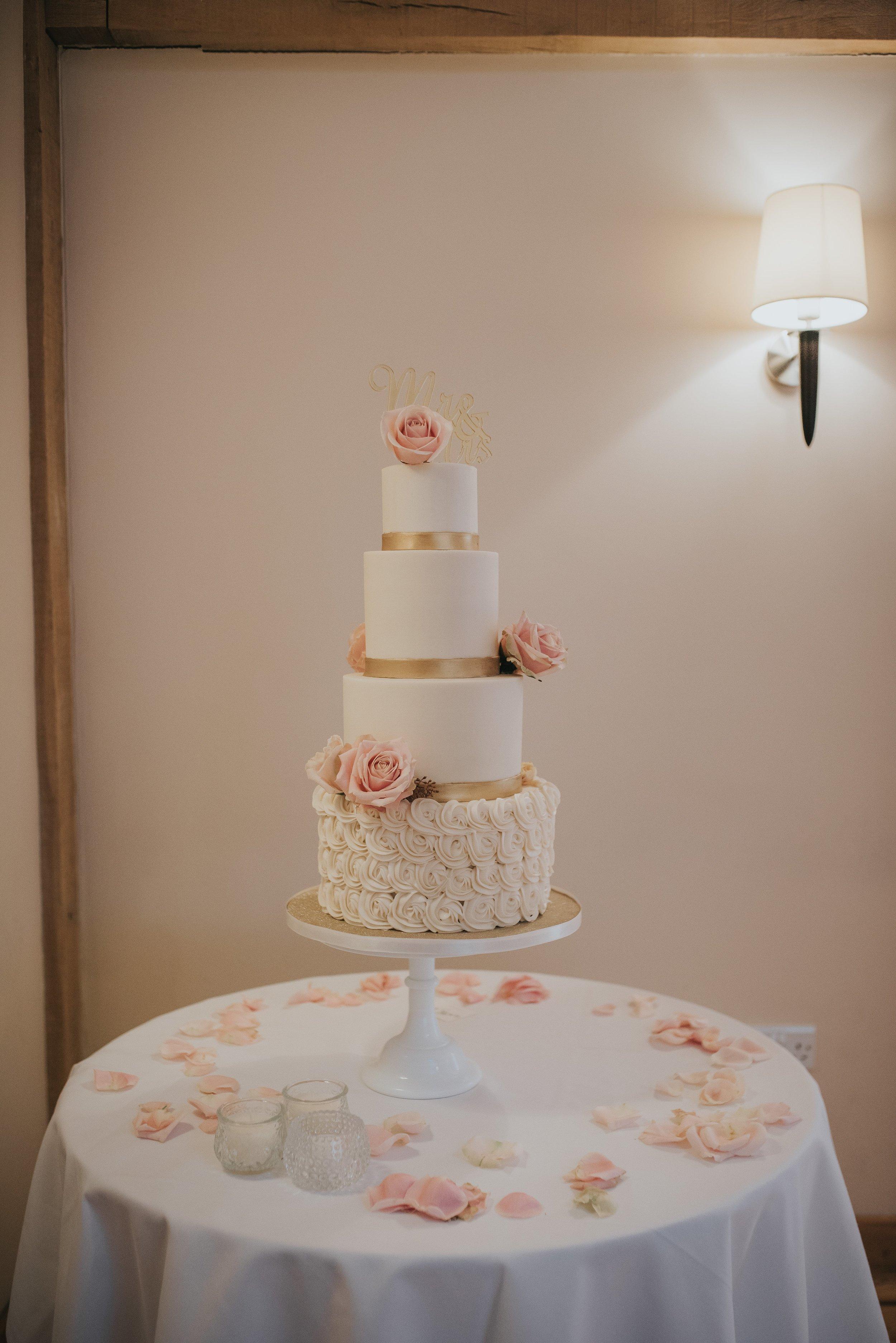 Bassmead manor barns wedding cake buttercream rosettes st neots