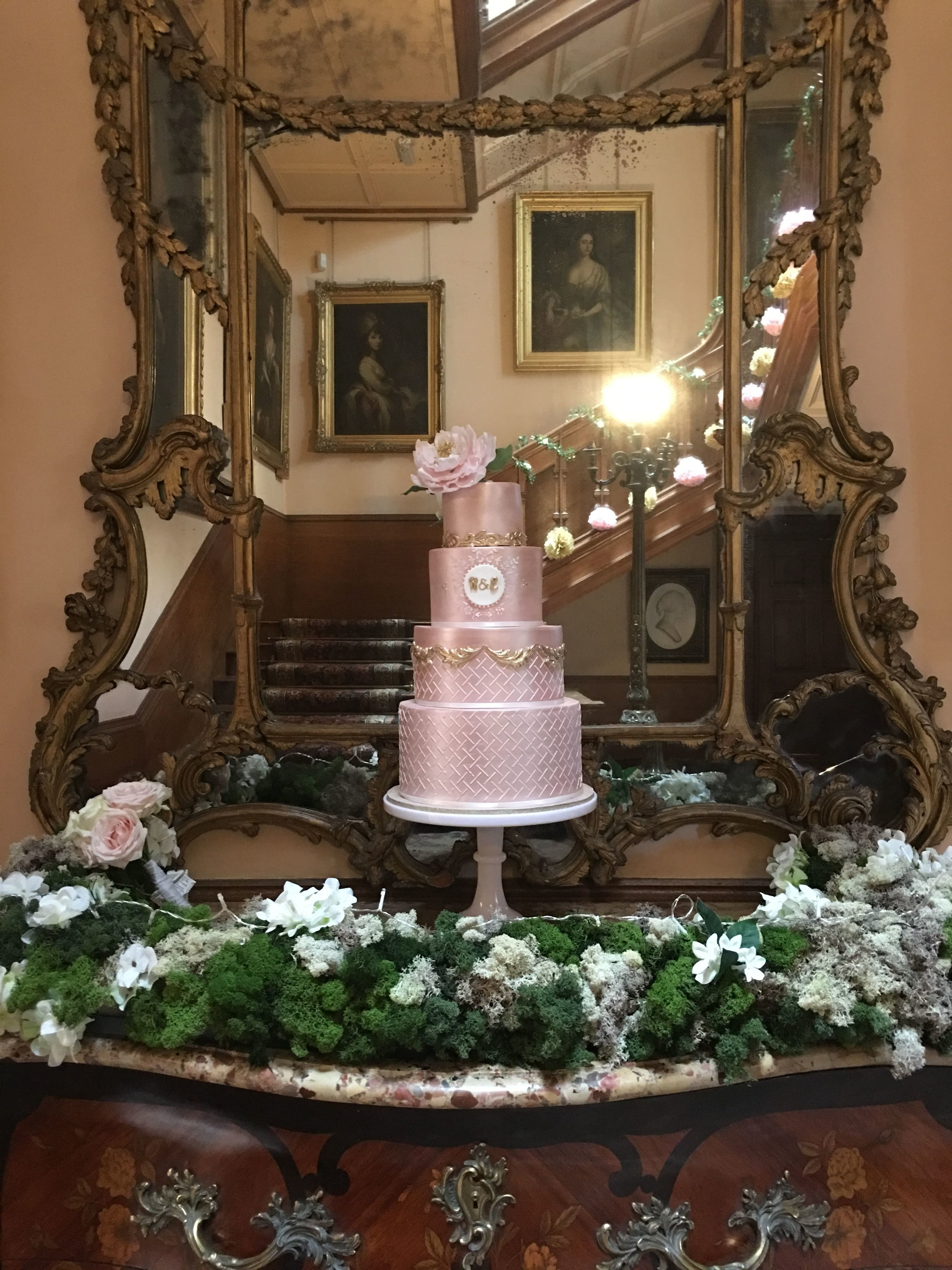 Meadowsweet Cakes: The House Shuttleworth luxuury wedding cake in rose gold and metallic touches, sugar peony, custom monogram