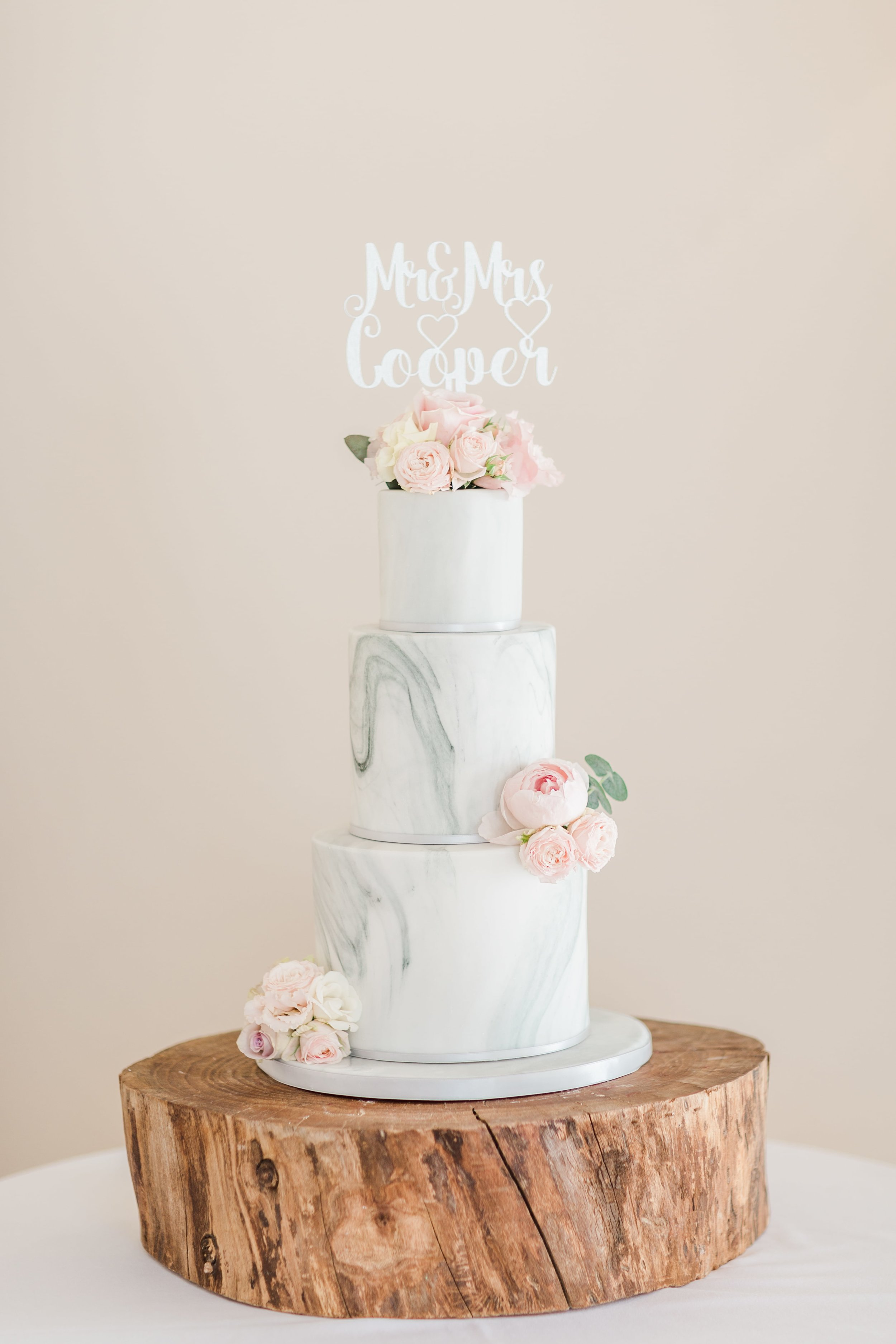 Marble and blush wedding cake by Meadowsweet Cakes, at Bassmead Manor Barns St Neots, photography by Sung Blue Photo