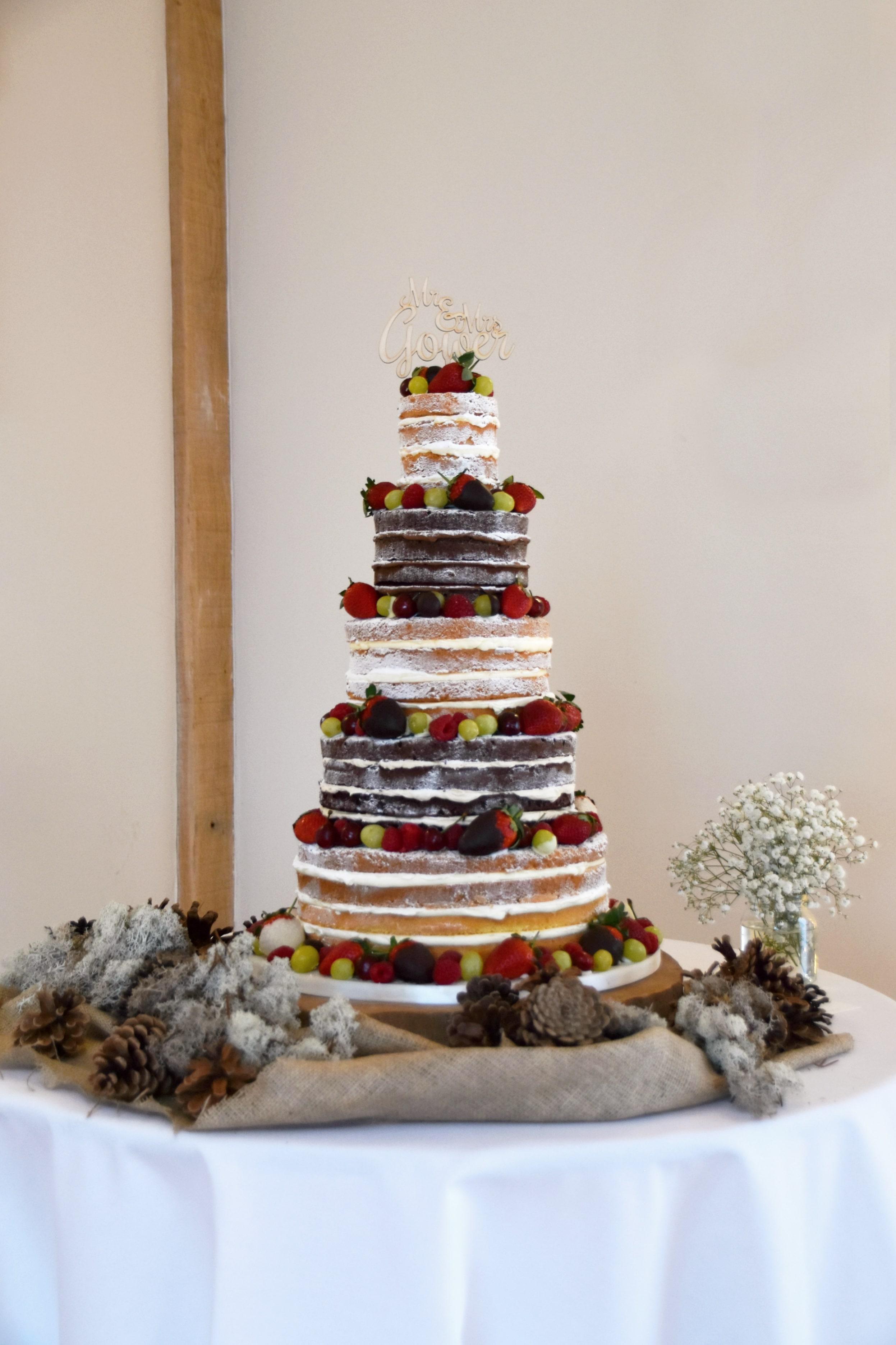 Bassmead Manor Barns Nake wedding Cake by Meadowsweet Cakes