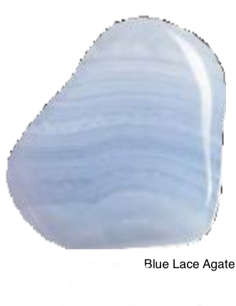 Blue Lace Agate - Excellent stone for starting over. The gentle energy of Blue Lace Agate instills peace of mind. Opens the way to higher energies and facilitates expression of spiritual and personal truth. Counteracts fear of rejections. Gently dissolves old patterns and mental stress.